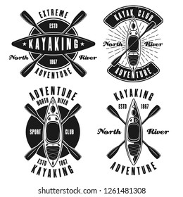 Kayaking set of four vector monochrome emblems, labels, badges or logos isolated on white background