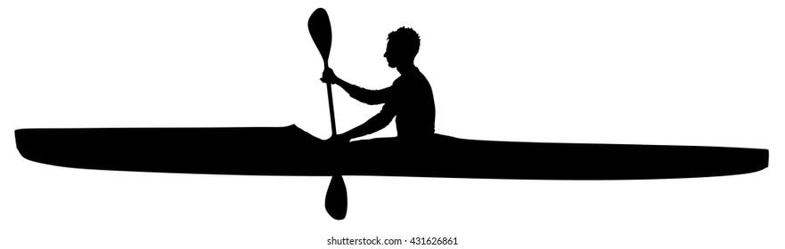 Kayaking Silhouette Vector Isolated On White Background Entering The Riverlake Ocean