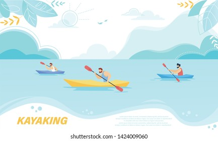 Kayaking Sport Competition. Sportsmen Rowing in Kayaks at Rocky Shore. Wild Nature and Water Fun on Summer Vacation. Tourists Company Extreme Activity, Leisure Cartoon Flat Vector Illustration, Banner