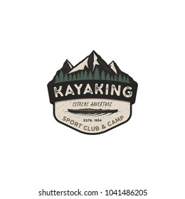 Kayaking vintage badge. Mountain explorer label. Outdoor adventure logo design. Travel and hipster insignia. Wilderness, forest camping emblem. Stock vector.
