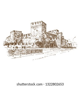 Kayseri Castle view in Kayseri City of Turkey. Engraving