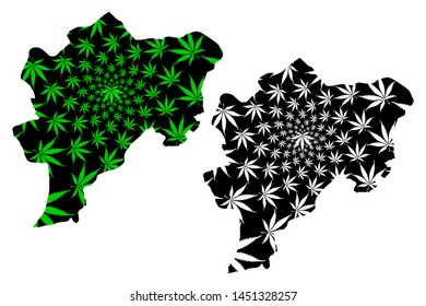 Kayseri (Provinces of the Republic of Turkey) map is designed cannabis leaf green and black, Kayseri ili map made of marijuana (marihuana,THC) foliage,