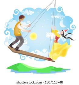 Kazakh boy and girl swing on Altybakan national swing. Celebration of Nauryz at nomads. Spring Equinox Day.