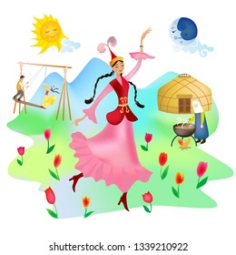Kazakh girl dancing at Nauryz holiday. In the background are altybakan, a yurt, an elderly woman with a cauldron, mountains and tulips. In the sky cartoons sun and moon. Vector.