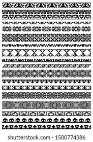 Kazakh national Islamic seamless ornaments. Set of ornate muslim borders, dividers and frames for covers, certificates or diplomas. Simple elegant line patterns in arabesque, nomadic ethnic style.