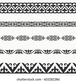Kazakh seamless borders. Border decoration elements patterns. Most kazakh ethnic border in one pack set collections. Classical pattern design. Vector illustrations.Could be used as divider, frame, etc