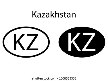 Kazakhstan country code icon.  Iso code country domain name.  KZ - 	Kazakhstan abbreviated. vector