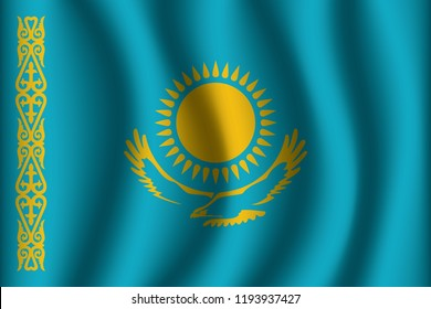 Kazakhstan flag background with cloth texture. Kazakhstan Flag vector illustration eps10.