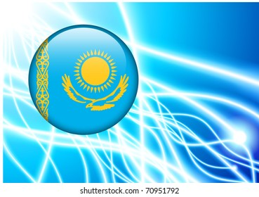 Kazakhstan Flag Button on Abstract Light Background Original Illustration