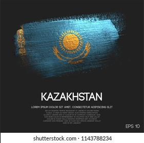 Kazakhstan Flag Made of Glitter Sparkle Brush Paint Vector