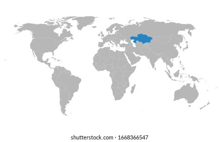 Kazakhstan highlighted blue on world political map. Gray background. Business concepts and backgrounds.