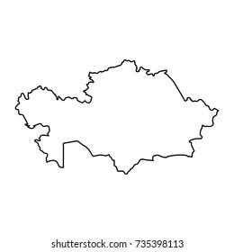 Kazakhstan map of black contour curves of vector illustration