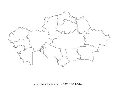 kazakhstan map with country borders, thin black outline on white background. High detailed vector map with counties/regions/states - kazakhstan. contour, shape, outline, on white.