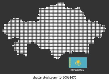 Kazakhstan map design white square, black background with flag Kazakhstan.