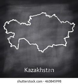 Kazakhstan map drawn with chalk on blackboard background