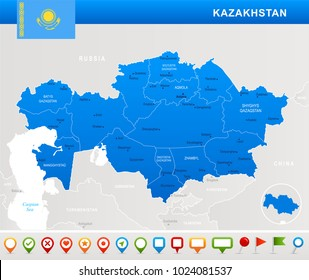 Kazakhstan map and flag - highly detailed vector illustration