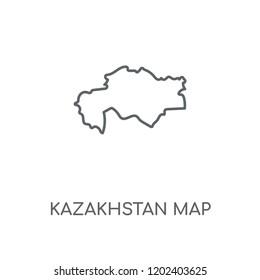 Kazakhstan map linear icon. Kazakhstan map concept stroke symbol design. Thin graphic elements vector illustration, outline pattern on a white background, eps 10.