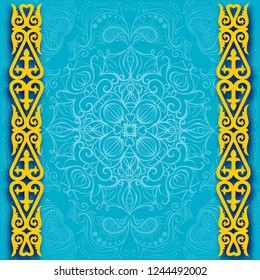 Kazakhstan official colors background. Banner or poster of Kazakhstan independence day celebration. Vector illustration frame design of Kazakhstan flag
