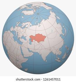 Kazakhstan on the globe. Earth hemisphere centered at the location of the Republic of Kazakhstan. Kazakhstan map.