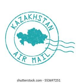 Kazakhstan post office, air mail, grunge rubber stamp on white background, vector illustration