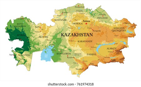 Kazakhstan relief map