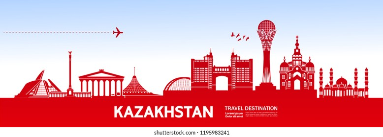 Kazakhstan Travel destination vector.