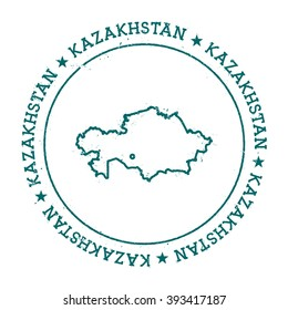 Kazakhstan vector map. Retro vintage insignia with Kazakhstan map. Distressed visa stamp with Kazakhstan text wrapped around a circle and stars. Country map vector illustration.