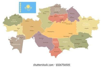 Kazakhstan - vintage map and flag - High Detailed Vector Illustration