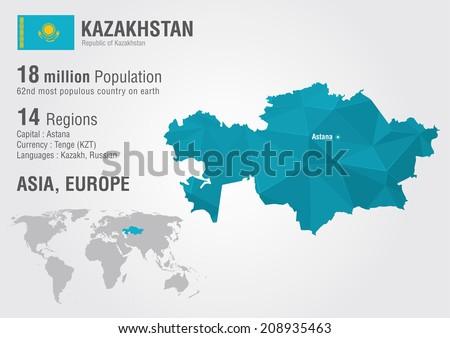 Kazakhstan World Map Pixel Diamond Texture Stock Vector Royalty