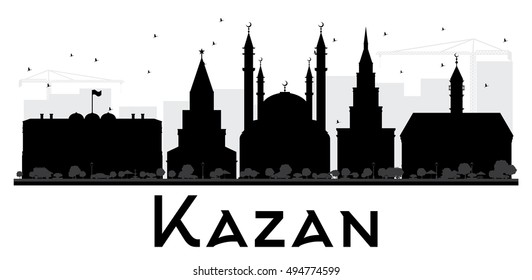 Kazan City skyline black and white silhouette. Vector illustration. Simple flat concept for tourism presentation, banner, placard or web site. Business travel concept. Cityscape with landmarks