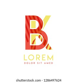 KB colorful logo design with pink orange and gray color that can be used for creative business and advertising. BK logo is filled with bubbles and dots, can be used for all areas of the company