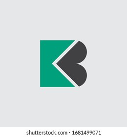 KB,  K and B, Uppercase Letter Initial flat and clean Logo Design Template Vector Illustration