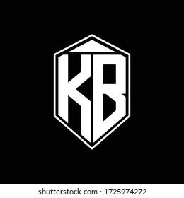 kb logo monogram with emblem shape combination tringle on top design template