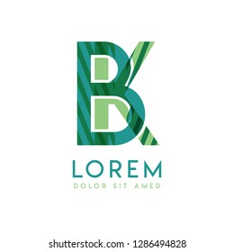 KB luxury logo design with green and dark green color that can be used for creative business and advertising. BK logo is filled with bubbles and dots, can be used for all areas of the company