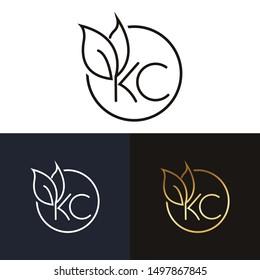 KC Or Ck letter logo design template vector