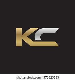 KC company linked letter logo golden silver black background