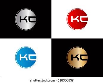 Kc company linked letter logo golden silver red blue logo design