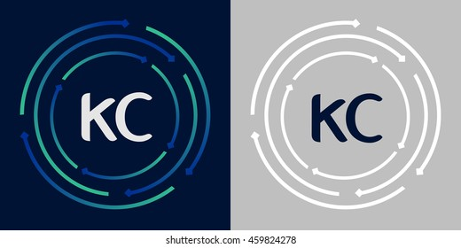 KC design template elements in abstract background logo, design identity in circle, letters business logo icon, blue/green alphabet letters, simplicity graphics