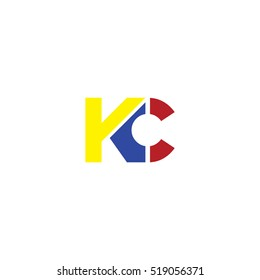 KC flat initial letter logo combining yellow blue red
