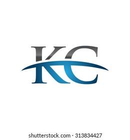 KC initial company blue swoosh logo