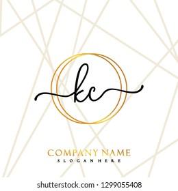 KC Initial Handwriting logo template vector