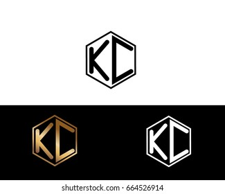 KC initial letters linked with hexagon shape logo