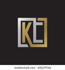 KC initial letters looping linked square elegant logo golden silver black background