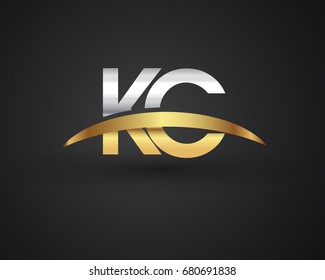 KC initial logo company name colored gold and silver swoosh design. vector logo for business and company identity.