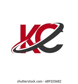 KC initial logo company name colored red and black swoosh design, isolated on white background. vector logo for business and company identity.