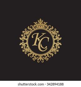 KC initial luxury ornament monogram logo