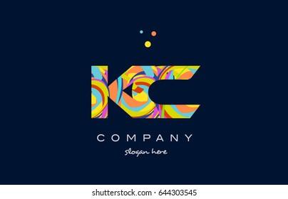 kc k c alphabet letter logo colors colorful rainbow acrylic font creative text dots company vector icon design template