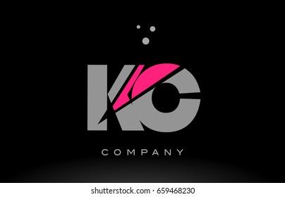 kc k c alphabet letter logo pink grey black creative company vector icon design template