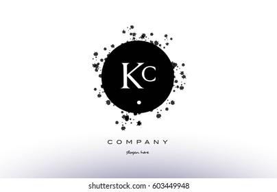 kc k c  black white circle grunge splash vintage retro alphabet company logo design vector icon template