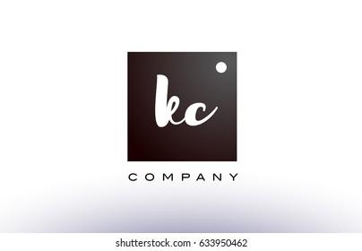 KC K C black white handwritten handwriting alphabet company letter logo square design template dot dots creative abstract